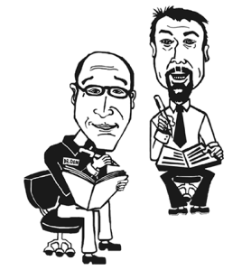 Dan Bilsker and Merv Gilbert caricature